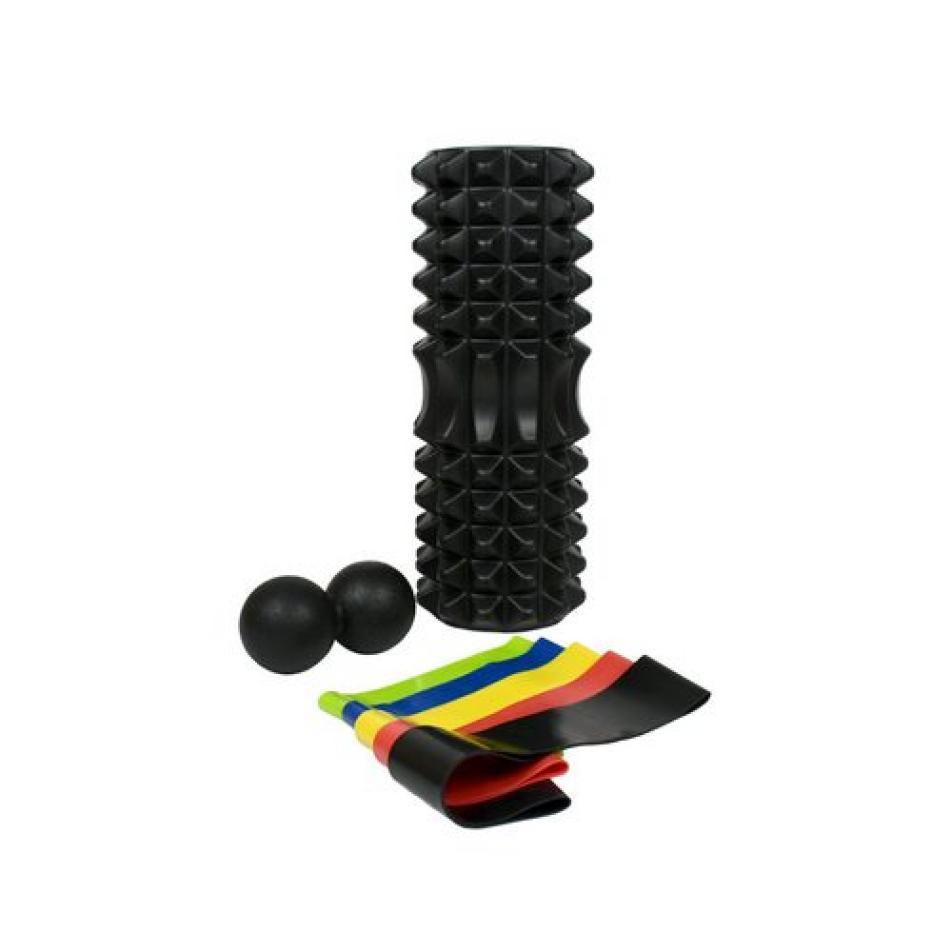 Набор для йоги (валик Strong S, массажер-орех, 5 эспандеров ленточных) в чехле