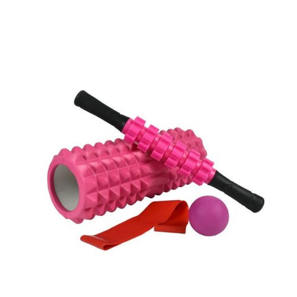 Набор для йоги (валик Strong S, массажер-палка, мяч, эспандер) в чехле