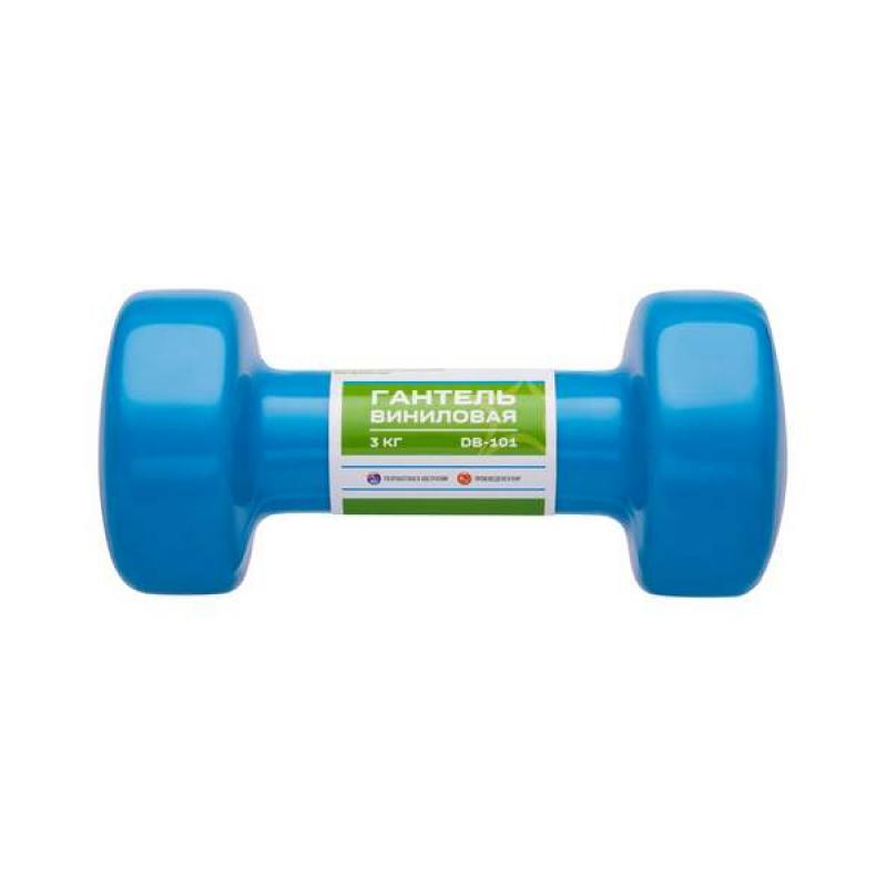 Гантель виниловая DB-101 3 кг, синяя фото