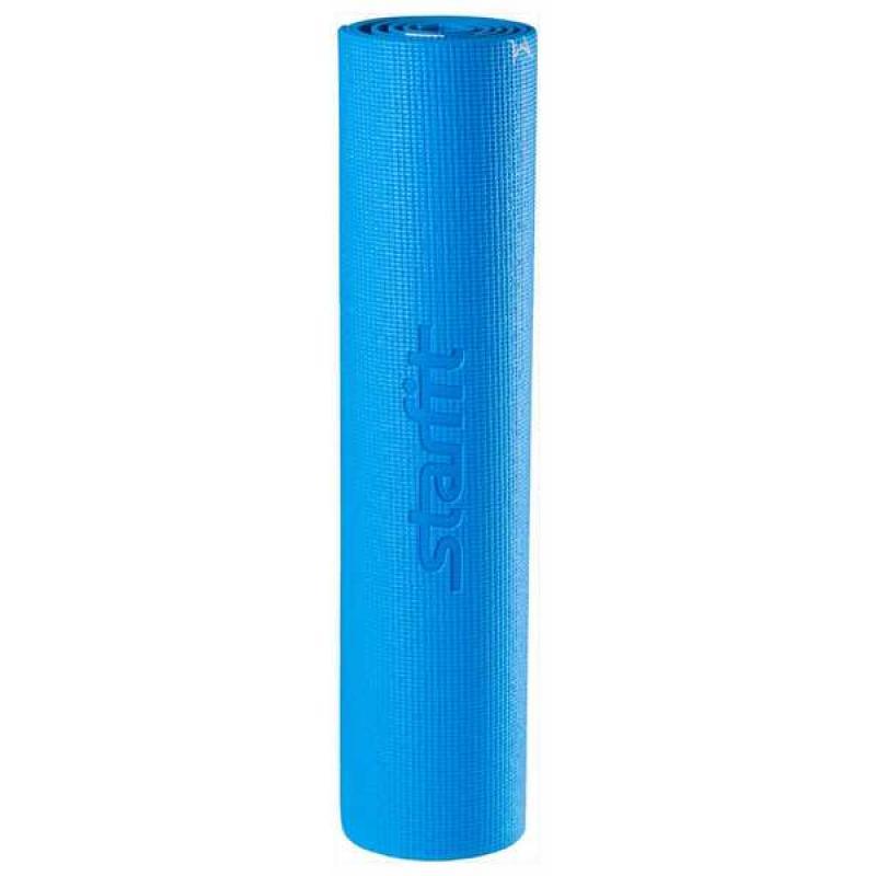 Коврик для йоги FM-102, PVC, 173x61x0,6 см, с рисунком, синий фото