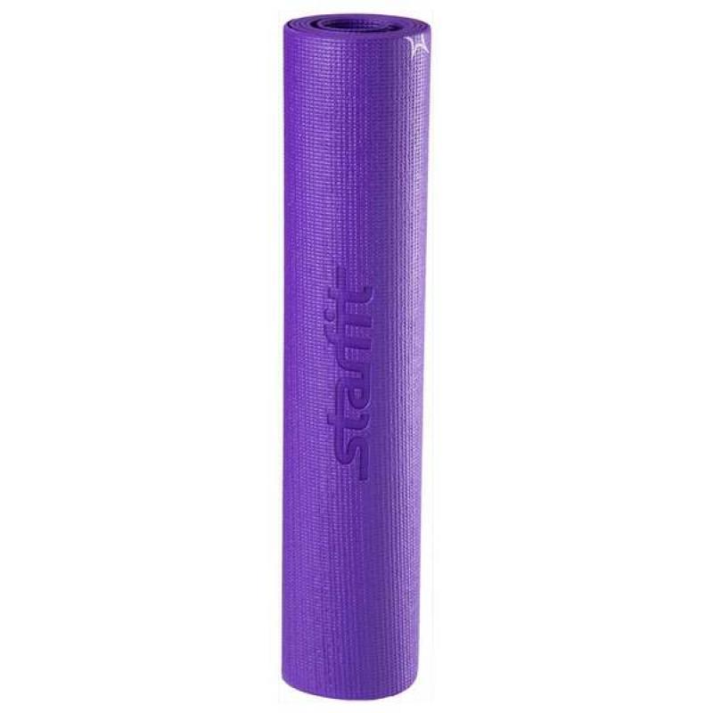 Коврик для йоги FM-102, PVC, 173x61x0,6 см, с рисунком, фиолетовый фото