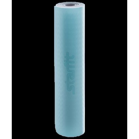 Коврик для йоги FM-201, TPE, 173x61x0,6 см, мятный/серыйStarfit
