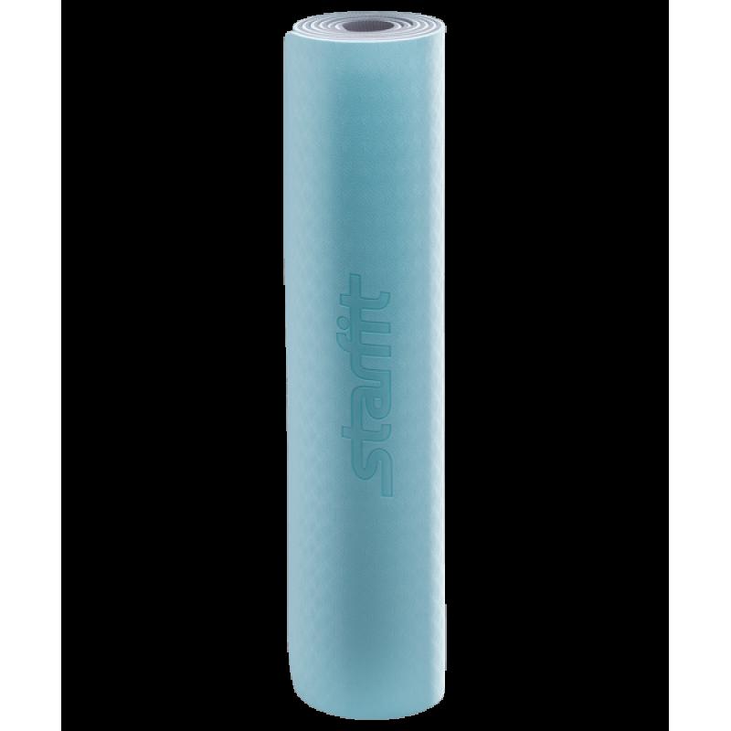 Коврик для йоги FM-201, TPE, 173x61x0,6 см, мятный/серыйStarfit фото