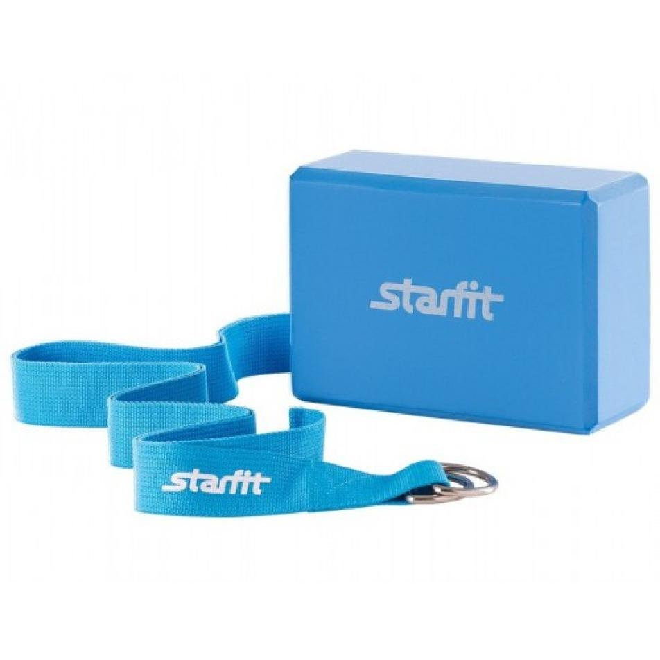 Комплект из блока и ремня для йоги Star Fit FA-104, синий
