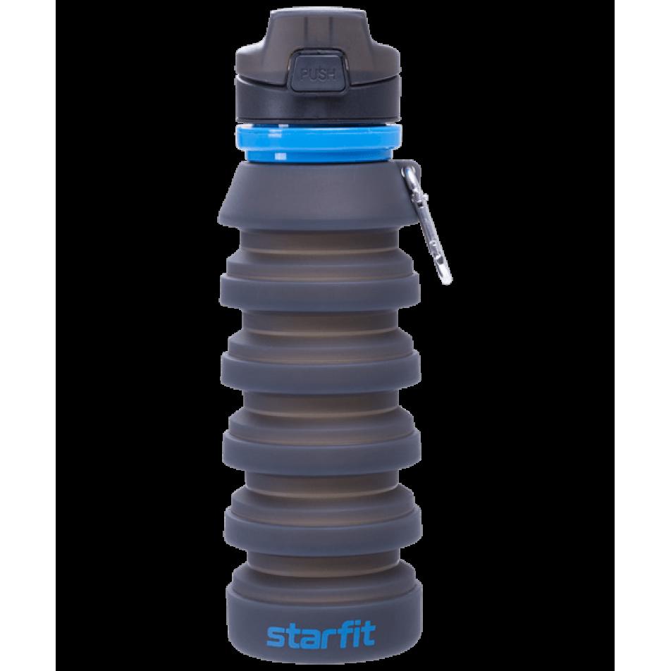 Бутылка для воды FB-100, с карабином, складная, сераяStarfit