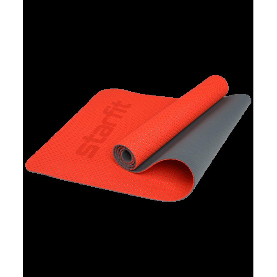 Коврик для фитнеса FM-202, TPE перфорированный, 173x61x0,5 см, ярко-красныйStarfit
